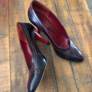 Vintage Red & Black Yves Saint Laurent Heels